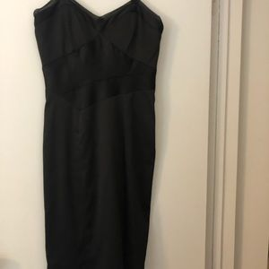 BCBG Paris black satin sleeveless dress